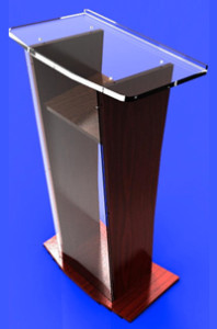 Clear Glass / Wood Podium